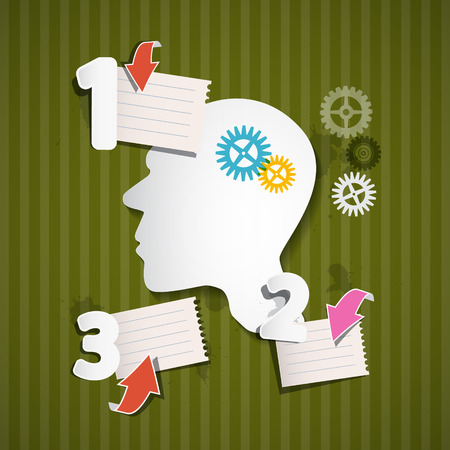 paper sheets: Abstract Green Retro Infographic Layout with Paper Head, Cogs, Paper Sheets and Arrows
