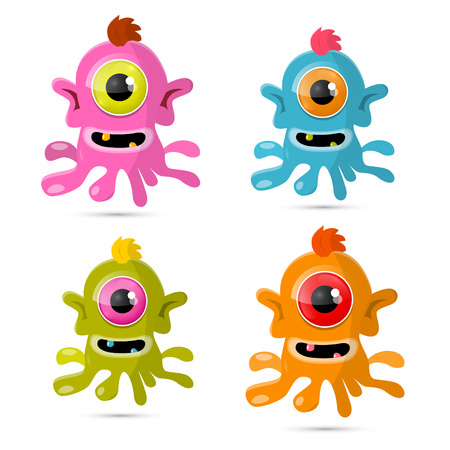 Abstract Vector Monsters - Aliens Set Isolated on White Background Vector
