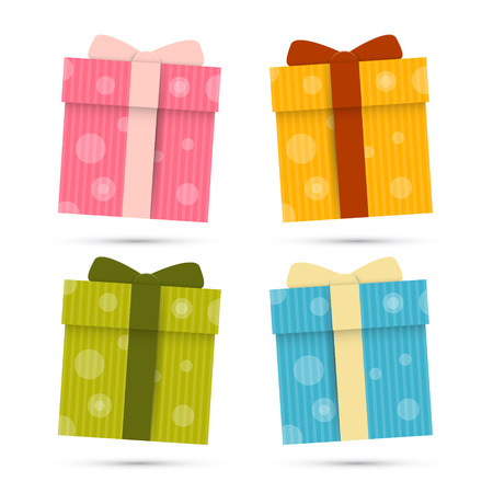 Vector Paper Gift Boxes Set Isolated on White Background