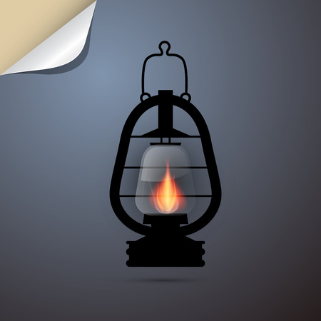 Vintage Lantern, Gas Lamp Silhouette on Paper Blue Background Vector