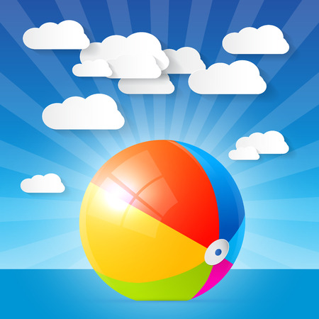 Colorful Vector Beach Ball in the Water - Ocean Vector