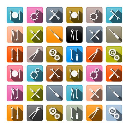 tenailles: Retro Vector Icons - dents, vitesses, tournevis, pinces, Spanner, cl� Outils � main, couteau, fourchette