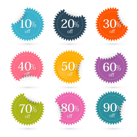 Colorful Vector Discount Labels - Stickers Set Vector
