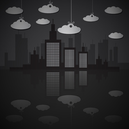 Night City Scape Illustration with Paper Clouds Vector