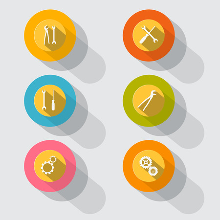 Circle Tools Vector Icons on Grey Background Vector