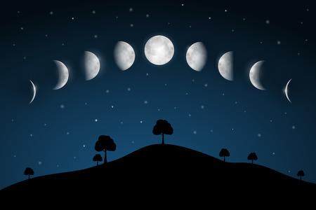 Fases de la Luna - Paisaje nocturno con árboles Ilustración de vector