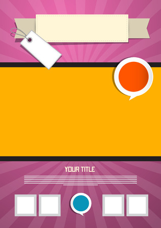 Pink and Orange Leaflet or Poster Retro Template Vector