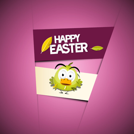 Happy Easter Pink - Violet Background with Funny Green Chicken  Vector