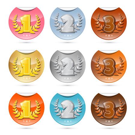 Oro, Plata, Bronce - Primer, Segundo y Tercer Lugar Vector etiquetas con bordes curvados Set