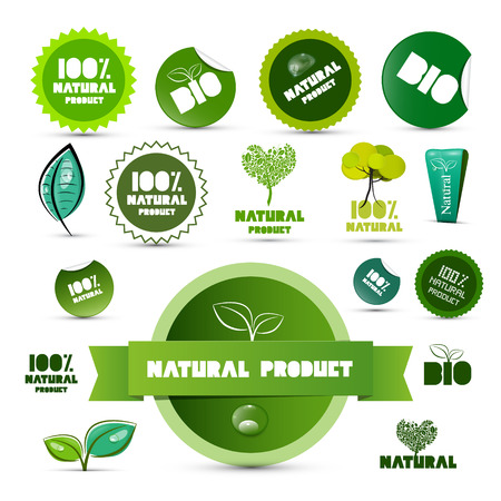 Natural Product Green Labels - Tags - Stickers Set Isolated on White Background Vector