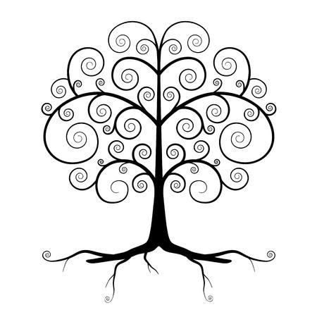 twirled: Abstract Vector Black Tree Illustration Vettoriali