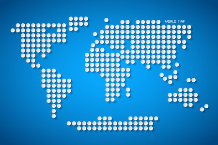 Vector Paper Dotted World Map Illustration on Blue Background Vector