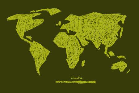 Vector Paper Hand Drawn Green World Map Illustration  Vector