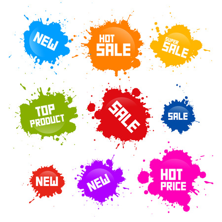 Vector Colorful Sale Blots Icons Isolated on White Background Vector