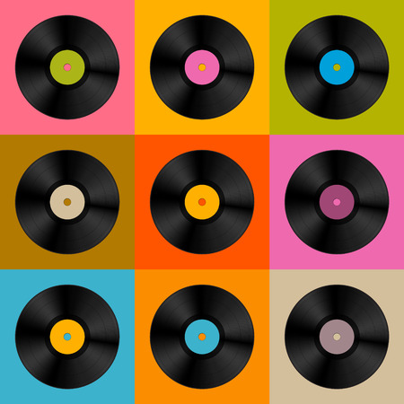 Colorful Retro, Vintage Vector Vinyl Record Disc Background  Vector