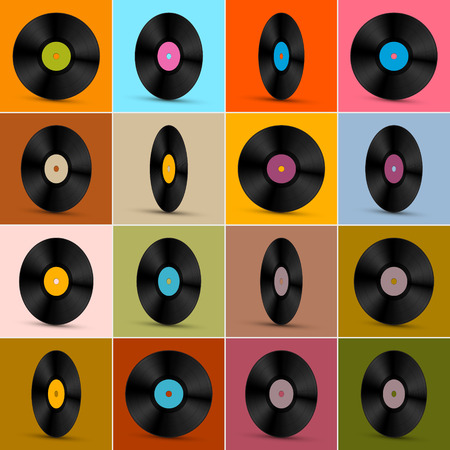 tracklist: Retro, Vintage Vector Vinyl Record Disc Background