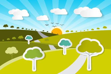 농촌 종이 벡터 자연 배경 나무, 구름