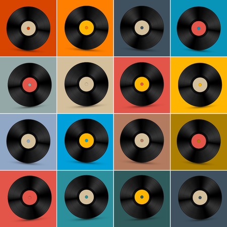 tracklist: Retro, Vintage Vector Vinyl Record Disc Set on Colorful Background