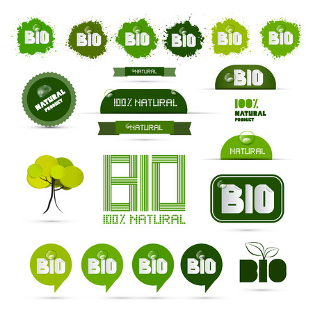 Bio - Natural Product Green Labels - Tags - Stickers Set  Vector