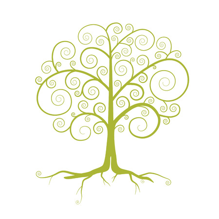 twirled: Abstract Vector Green Tree Illustration Isolated on White Background Illustration