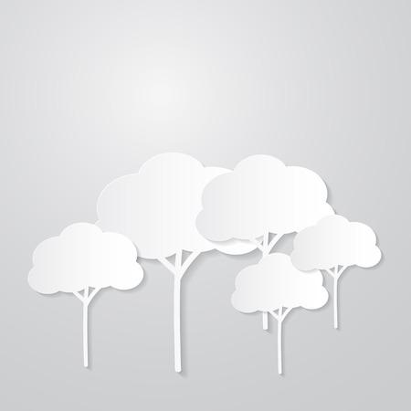 회색 배경에 종이에서 흰색 나무 절단