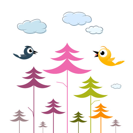 Vector Paper Trees, Birds and Clouds Vector