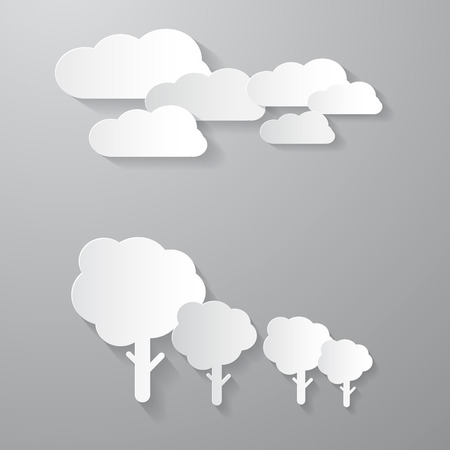 Vector Clouds and Trees Cut From Paper Background Vector