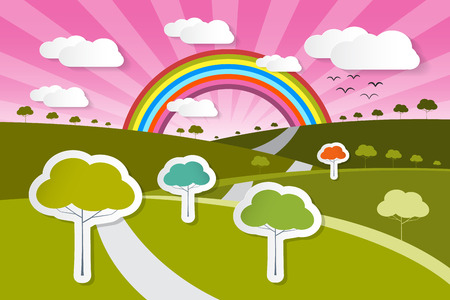 Paper Vector Nature Background with Trees, Clouds and Rainbow Vector