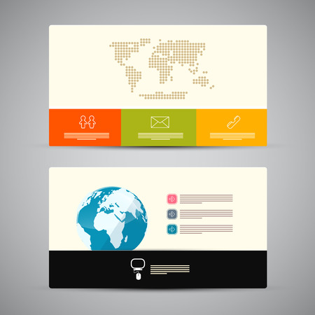 Paper Business Card Template Isolated on Grey Background Vector