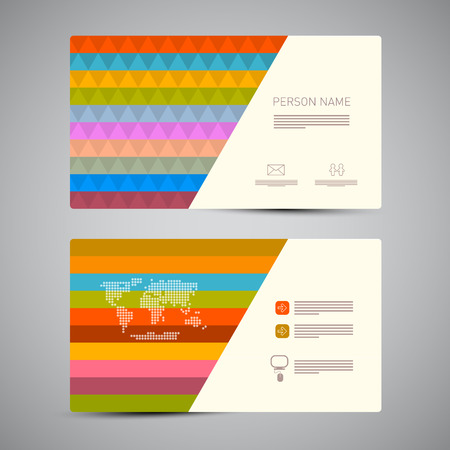 Retro Paper Business Card Template with Colorful Triangles Vector
