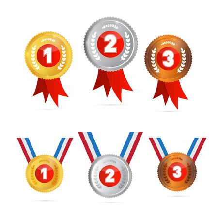 Vector Medals Sets - Gold, Silver, Bronze, First, Second, Third  Vector