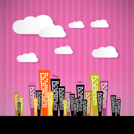 Abstract Retro Paper City Illustration with Clouds and Pink Background Vector