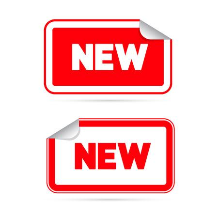 赤ベクトル ステッカー - 新しいタイトルとラベル  イラスト・ベクター素材