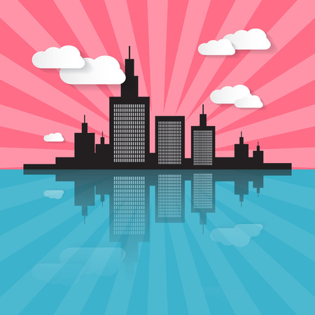 clouds scape: Evening - Morning City Scape Illustration