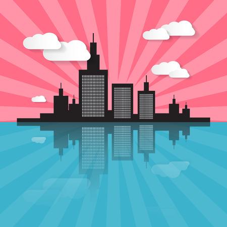 cloud scape: Evening - Morning City Scape Illustration