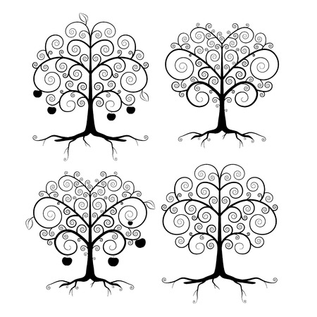 twirled: Abstract Vector Black Tree Illustration Set