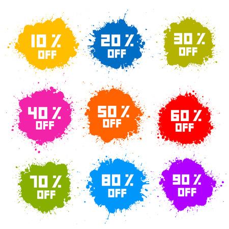 Colorful Discount Labels, Stains, Splashes Vector