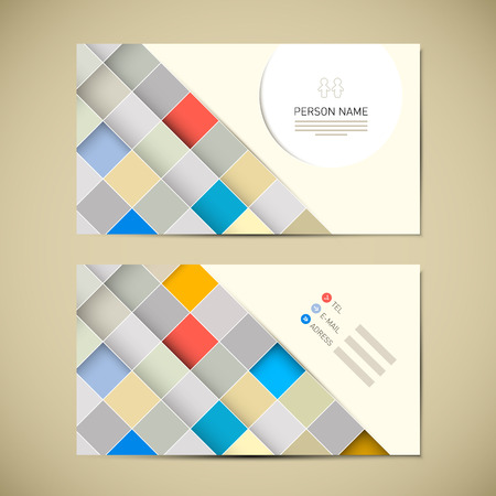 Retro Paper Business Card Template Vector