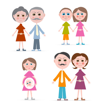 family isolated: Family Members Illustration Isolated on white Background
