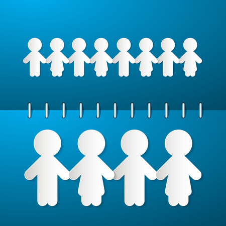 Paper People Holding Hands on Blue Notebook Background Vector
