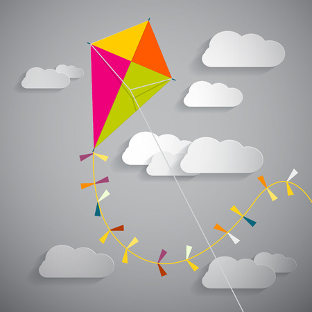 kite: Paper Kite on Sky with Clouds -  Vector Illustration