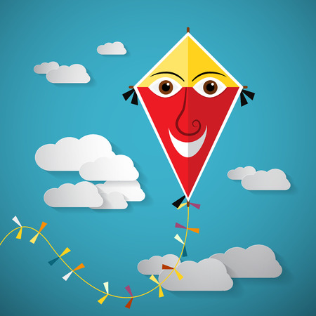 paper kite: Paper Kite on Sky with Clouds -  Vector Illustration