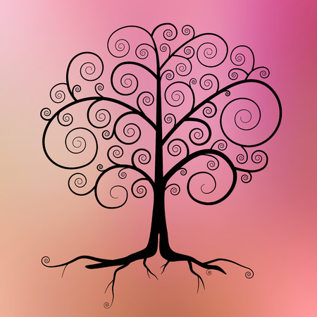 twirled: Abstract Vector Black Tree Illustration on Violet - Pink - Orange Blurred Background  Illustration