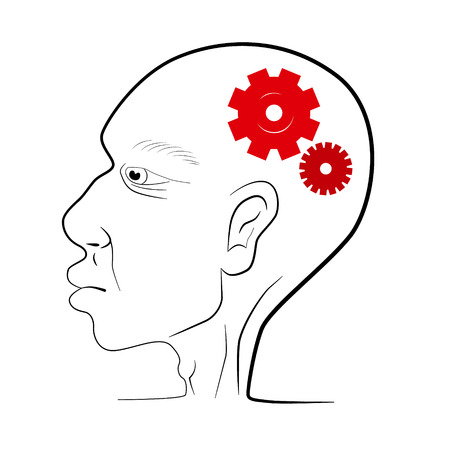 Man Head Vector Illustration With Red Cogs - Gears Vector