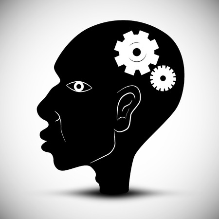 Black Man Head Vector Illustration With Cogs - Gears Vector