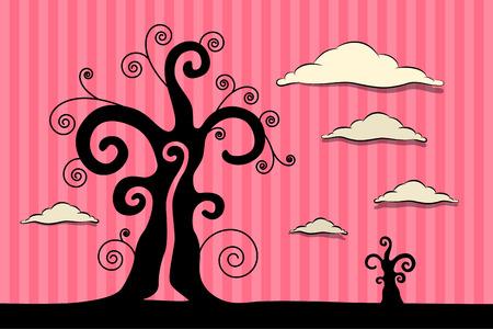 twirled: Abstract Illustrazione Vector Black alberi con nuvole su sfondo rosa cartone