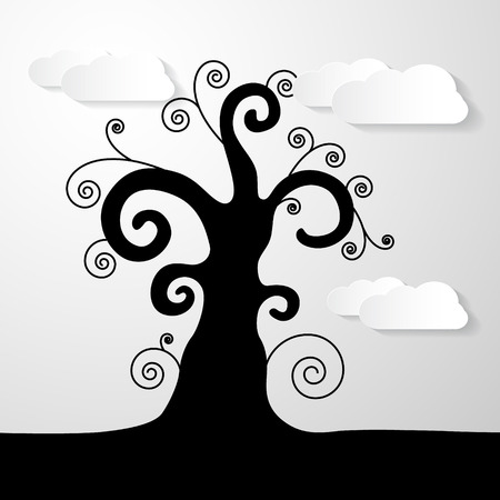 twirled: Abstract Vector Black Tree Illustration With Paper Clouds Illustration