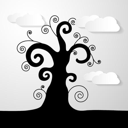 twirled: Astratto illustrazione vettoriale Black Tree con nuvole di carta
