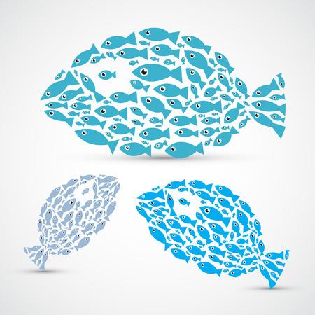 pez abstracto: Los peces en forma abstracta Fish Set Ilustraci�n Vectores