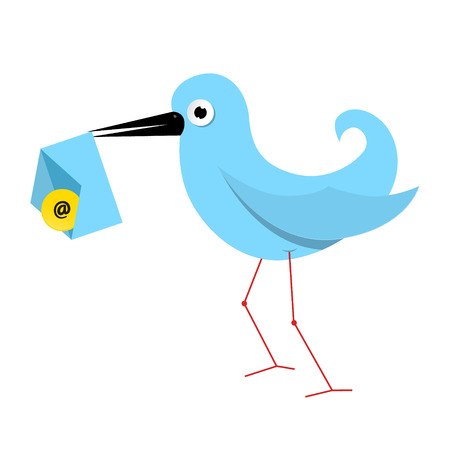 Vector Blue Paper Bird Illustration with Email Envelope Vector